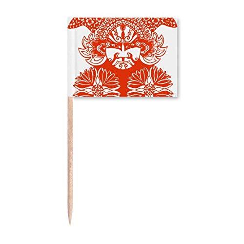 Roter Gesichtskopf Peking Opera Papierschnitt Zahnstocher Flaggen Marker Topper Party Dekoration