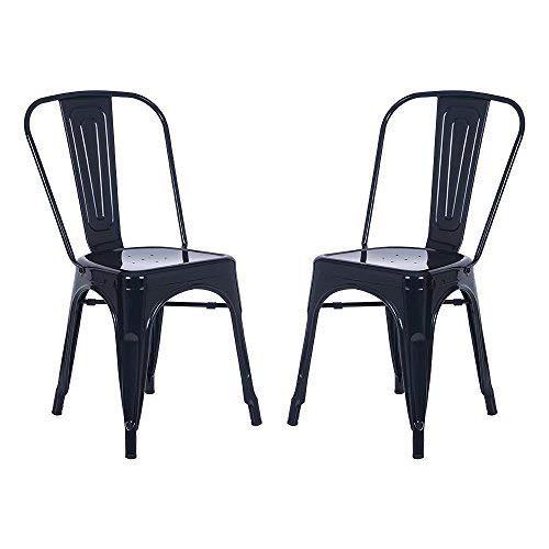 Merax High Back Steel Stackable Vintage Metal Dining Chair Set of 2 (Black)