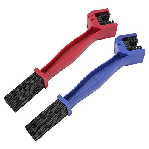 SENZEAL 2 pcs Ketten Reinigungsbürste für Auto Motorrad Fahrrad Kette Reinigung Wartungswerkzeug, Rot / Blau