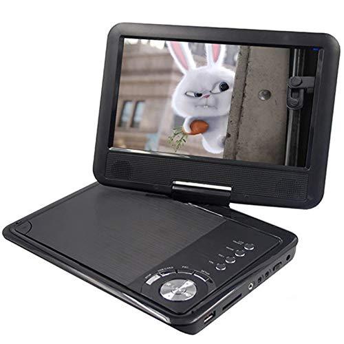 ZXCV Reproductor de DVD portátil de 9 Pulgadas, Reproductor de DVD para niños y automóvil, Soporte de Pantalla giratoria, Tarjeta SD, CD, DVD, USB con Entrada Salida AV