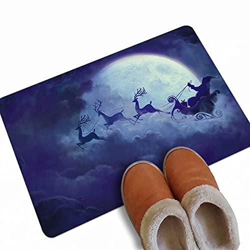 Fußmatte mit Weihnachtsmotiv, für den Eingangsbereich, für Innen- oder Außenbereich, Terrassen-Teppiche, für den Außenbereich, Weihnachtsmann-Mond, 60 x 80 cm