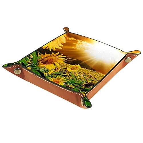 Bandeja de Valet, colección de Cuero de PU, Organizador de bandejas, Caja de Almacenamiento para Relojes, Monedas, Monedas, Billetera, Flor bajo el Sol