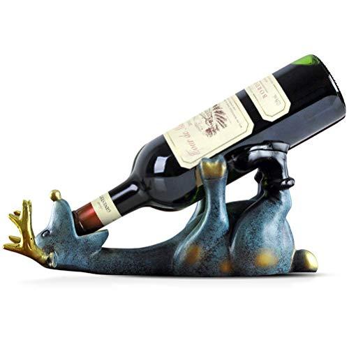 IF.HLMF Pequeño soporte para botellas de vino, estante para botellas de vino con forma de ciervo, decoración para el hogar, botellas de 14 cm de altura