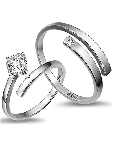 Karatcart Platinum Plated Elegant Austrian Crystal Adjustable Couple Ring