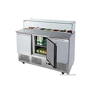 Table Pizza Réfrigérée avec Vitre en Verre - 7 Bacs GN 1/3 - Atosa - R600A 3 Portes Pleine