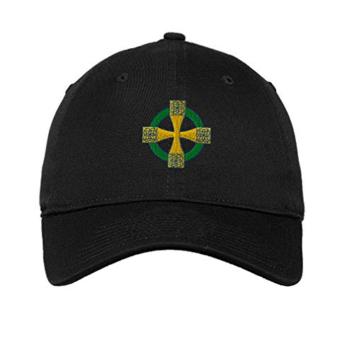 Soft Baseball Cap Celtic Cross B Embroidery Religions Other Twill Cotton Dad Hats for Men & Women Buckle Closure Black Design Only