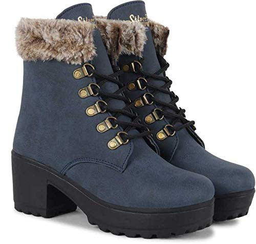 SILVER CAT comfortable and stylish women boots. (BLUE, numeric_8)