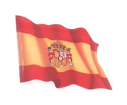 Valmoni Sport Pegatina Bandera de España Ondeando en 3D Escudo Ondeante 8 X 6 cm de Resina Coche