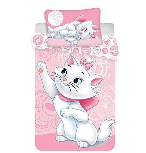 Marie Aristocats Baby Bedding Set 100% Cotton Duvet Cover 100 x 135 cm + Pillowcase 40 x 60 cm