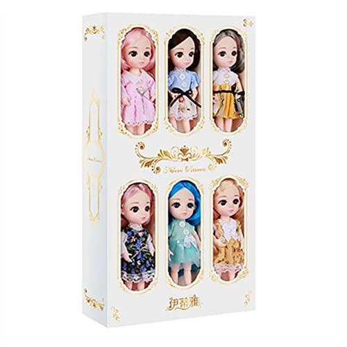 TITIFIVE 6PCS muñecas de Princesa, Ropa Casual, muñeca de Moda, Juguetes para niños de 6 a 12 años, muñecas de 16 cm (articulaciones Intercambiables y móviles)