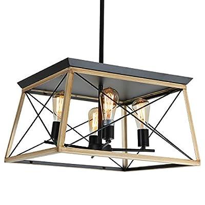 XIPUDA 4-Light Farmhouse Ceiling Pendant Light Fixture Kitchen Island Lighting Antique Industrial Metal Chandeliers (Oak)