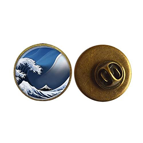 Pin de arte, ondas de cristal azul, broche hecho a mano, broche de la onda del océano, broche de playa, broche del océano, PU077