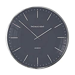 Thomas Kent 16 Modern London Wall Clock Glass Face with Aluminum Alloy Frame - Black