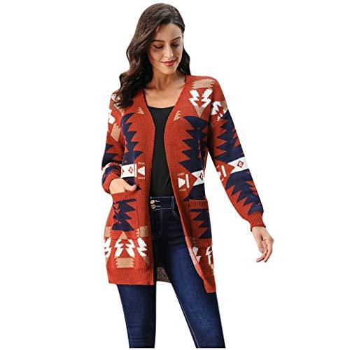 VOWUA Womens Christmas Knit Sweaters Geometric Pattern Coat V-Neck Christmas Tree Sweater Cardigan