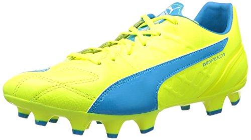 Puma Evospeed 3.4 Lth Fg - Botas De Fútbol para hombre, Amarillo - Gelb (safety yellow-atomic blue-white 04), EU 42