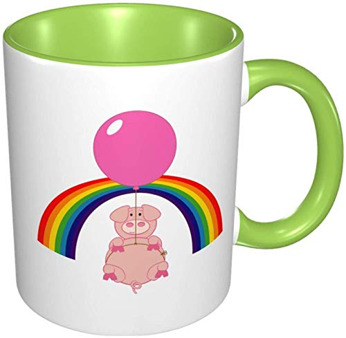 Floating Flying Pig Over The Rainbow Porcelain Coffee Mug Colorful Inside Ceramic Handle Mugs for Cappuccino Tea Cocoa & Cereal Green, 11 oz