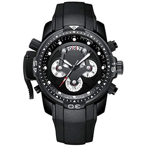 REIUYTHO De los hombres clásicos de reloj de cuarzo correa de silicona, resistente al agua, con reloj deportivo, Fashion Business relojes de pulsera, cronógrafo adecuado for los jóvenes, hombres de ne