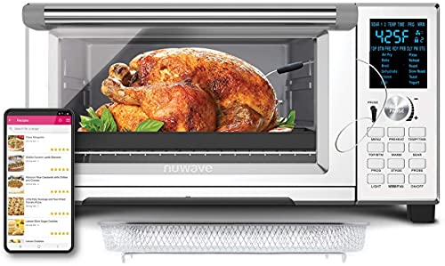 NUWAVE BRAVO XL 30-Quart Convection Oven with Crisping and Flavor Infusion Technology with Integrated Digital Temperature Probe for Perfect Results; 12 Programmed Presets; 3 Fan Speeds; 5-Quartz Heating Elements; Precision Temperature Control from 60F to 500F