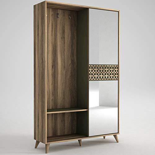 Alphamoebel 4111 Marvin Garderobe Flurgarderobe Spiegel Schuhschrank Kommode Garderobenhaken, Holz, Walnuss Dunkelgrün, viel Stauraum, 120 x 192 x 35 cm