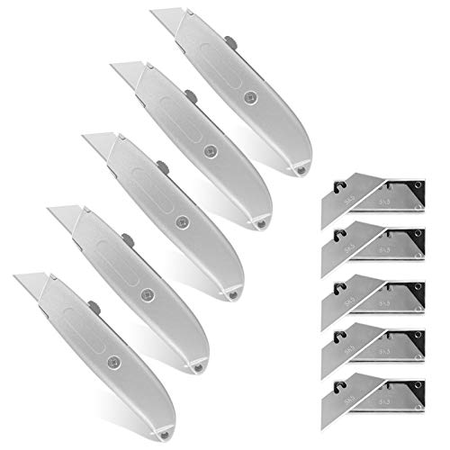 5 Pack Retractable Razor Knife Utility Knife Box Cutter Full Metal Body with Extra 50pcs SK5 Knife Blades