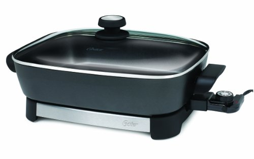 Oster Electric Skillet, 16 Inch, Black/Stainless Steel...