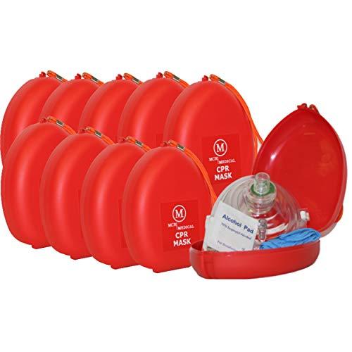Pack of 10 MCR Medical CPR Rescue Mask, Adult/Child Pocket Resuscitator, Hard Case with Wrist Strap