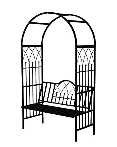 F-XW Metal Arbor with Bench, Garden Archway, Arbor for Climbing Plants, Roses, 114cm/3.7Ft Wide x 210cm/6.9Ft High