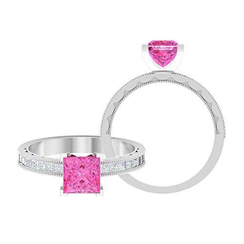 Anillo de compromiso de boda creado en laboratorio de zafiro rosa de 2,04 quilates de corte princesa, para mujeres, 14K Oro blanco, Creado en el laboratorio de zafiro rosa, Size:US 53