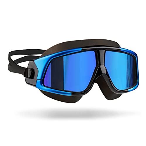 FENGCUANG Gafas de baño para Hombres Gafas para Mujer Anti-Niebla UV Adultos Deporte Impermeable de Silicona natación Gafas Gafas Gafas (Color : Mirrored Black Blue)