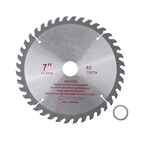 Hojas de sierra, dientes de carburo cementado de 7 en 40T, herramienta circular de corte de madera, diámetro de orificio de 25,4 mm para máquinas de corte, sierras manuales eléctricas, sierras de mesa