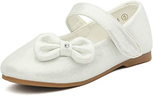 DREAM PAIRS Angel-5 Adorables Mary Jane Vorne Bogen Klettverschluss Ballerina Fache Mädchen Weiß 24 EU