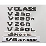 OceanAutos Para Mercedes Benz Clase V W447 MPV V200 V220 V250 V250d V250L V260 V260L 4MATIC, Emblema de Emblemas de Emblemas de Tapa de Maletero con Letras Cromadas