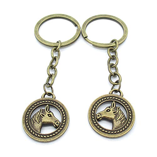 50 Stück Antik-Bronze-Ton Schlüsselanhänger Schmuck Verschlüsse Lieferanten TK1103 Pferdeanhänger