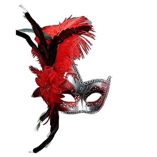 LONGFEI Wunderschöne Federmaske Feather Masquerade Mask Karnevalsmaske Von Venedig (Rot, 34 * 18CM)