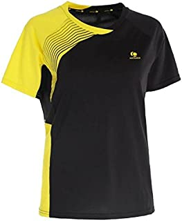 Artengo 830 Women's Badminon T-Shirts - Black Yellow