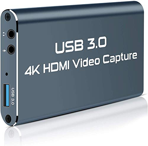 Rosmarinus Video Capture Card, USB 3.0 HDMI Video Capture Device with HDMI Loop-Out 4K 1080P 60FPS Live Streaming Game Recorder Device, Compatible Windows Linux OBS OS X Twitch for PS3 PS4 Xbox (Gray)