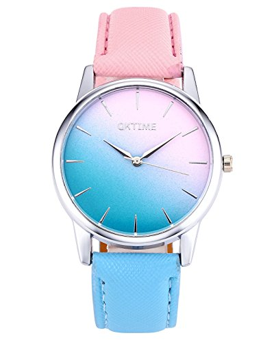 Top Plaza Fashion Women Girls Candy Color Pink & Blue Watch Silver Case PU Leather Strap(Style 1)