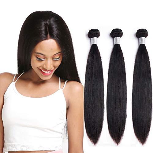 NIUDINNG Echthaar Tressen Brazilian Hair Bundles 300g Farbe NatüRliches Schwarz Brazilian Straight Weave Hair Lange For Women 24 26 28 Zoll Natural Black