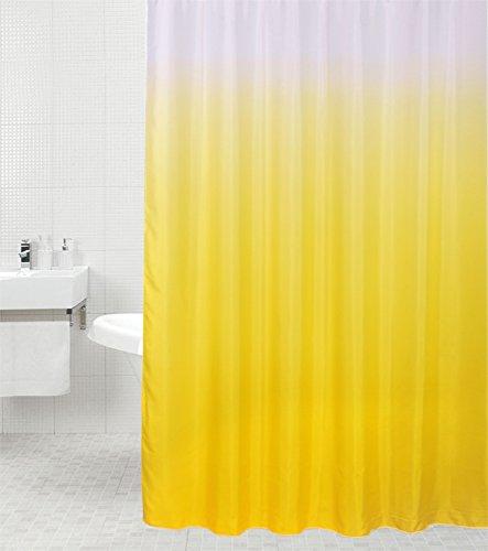 Duschvorhang Magic Gelb 180 x 200 cm, hochwertige Qualität, 100prozent Polyester, wasserdicht, Anti-Schimmel-Effekt, inkl. 12 Duschvorhangringe