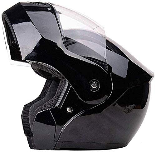 LAMZH Casco de motocicleta portátil para hombre y mujer, de cuatro estaciones, universal, de cara abierta, antiempañamiento, negro, grande, protección