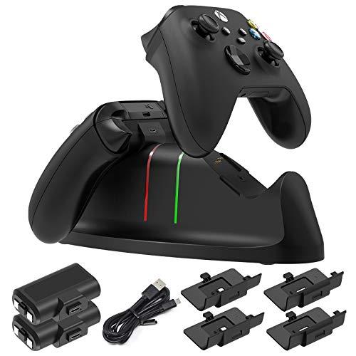 Manette Chargeur Station pour Xbox Series X|S, Xbox One/Xbox One S|X, Xbox One Elite Controllers, Kits de Charging Station avec 2 ×1400 mAh Rechargeables Batteries