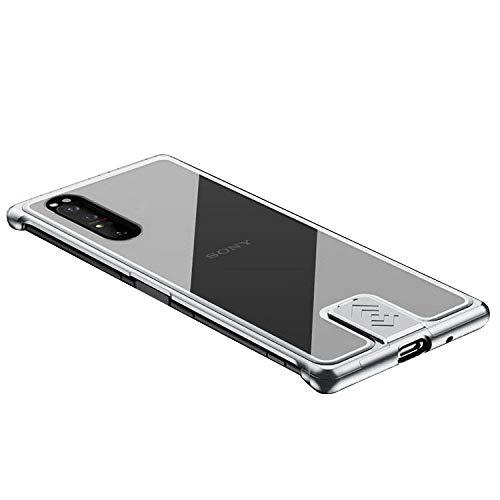 Xperia1 II ケース カバー アルミ バンパー 強化ガラス 背面パネル付き かっこいい エクスペリア 1II アルミサイドバンパー おしゃれ スマートフォン/スマフォ/スマホケース/カバー[Xperia 1 II(シルバー)]