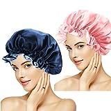 2pcs Bonnet Satin Cheveux Nuit Bonnet de Sommeil Reglable Bonnet de Nuit Afro Bonnet en...