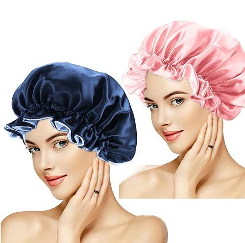 2pcs Bonnet Satin Cheveux Nuit Bonnet de Sommeil Reglable Bonnet de Nuit Afro Bonnet en satin pour Femme Dormir Bonnet,Turbans de Cheveux Nuit
