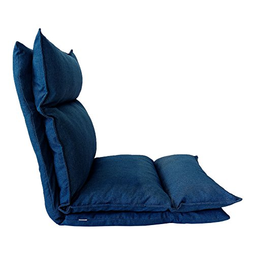 Rebecca Mobili RE6197 Zitting Futon Yoga Jeans Metaal Polyester Meditation Lettura Relax woonkamer stof donkerblauw 56 x 15 x 135 cm