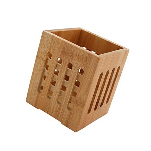 Cabilock - Portautensilios de bambú divisor para baquetas y tenedores y cucharas