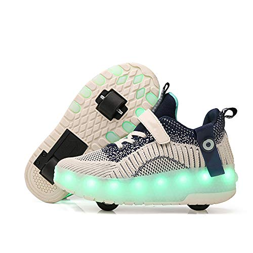 SSCYHT Zapatos con Ruedas Zapatillas para niños y niña Led Luces Zapatillas con Ruedas Se Puede Bambas con Ruedas Automática Calzado de Skateboarding,Azul,34