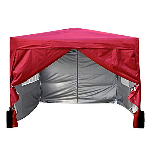 3x3m Waterproof Pop-up Gazebo with Silver Protective Layer Marquee Canopy WS (Red)