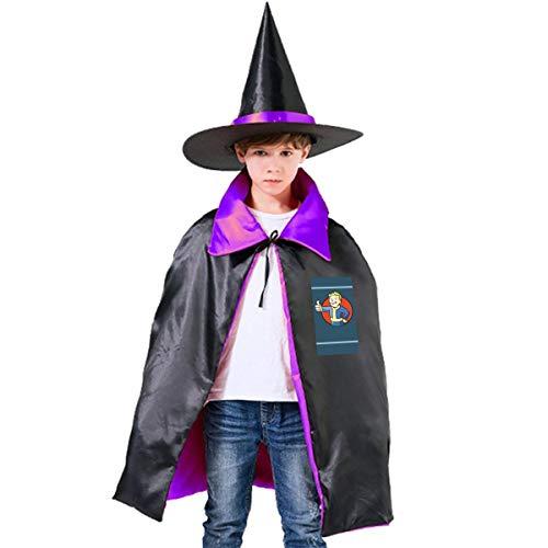 NUJSHF Fallout Vault Boy Unisex Kinder Kapuzenumhang Umhang Umhang Cape Halloween Party Dekoration Rolle Cosplay Kostüme Outwear
