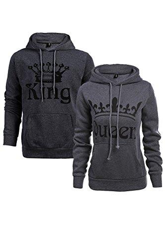Women Couple Sweatshirt King Queen Pullover Hoodie Darkgrey Wowen S/Men M
